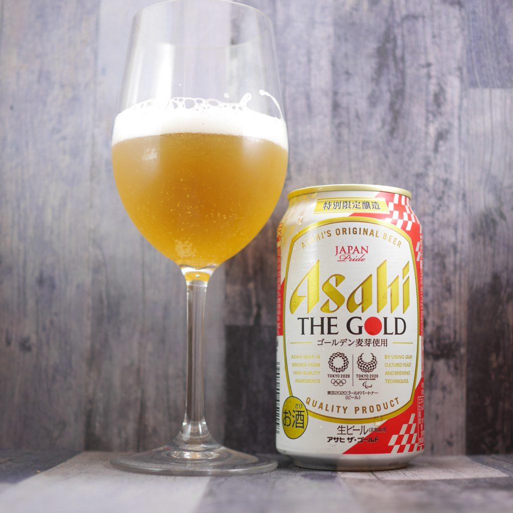 アサヒザ・ゴールドを注いだグラスと缶