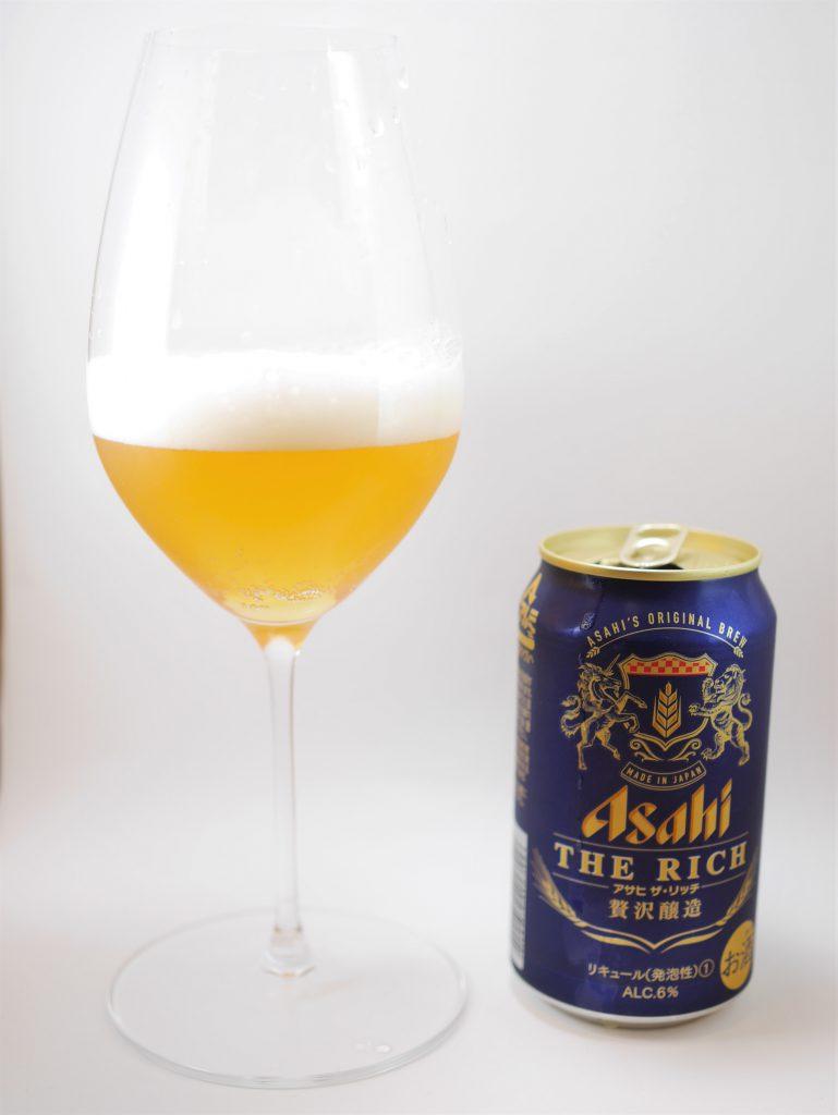 アサヒ ザ・リッチのグラスと缶